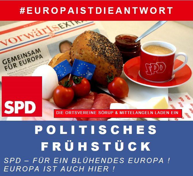 Plakat Politisches Frühstück, Kaffee Gedeck mit Brötchen, Aufschnitt und Kaffee
