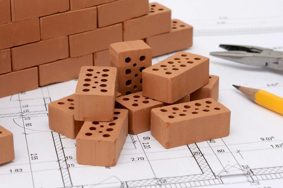 Bauplan, Stifte, Ziegelsteine