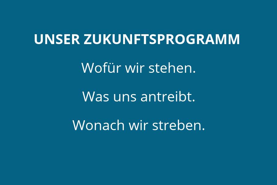 Schriftzug: Unser Zukunftsprogramm